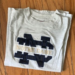 Vintage Embroidered Notre Dame Grey Tee Shirt